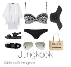 Beach day with Jungkook Pretty Outfits, Cute Outfits, Kpop Fashion Outfits, Womens Fashion, Bts Clothing, Hijab Fashionista, Bts Inspired Outfits, Mode Kpop, Swimming Outfit