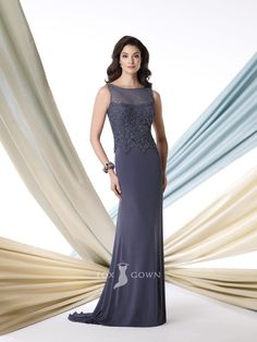 grey sleeveless boat neck floor length embroidered bodice mother of the bride dress