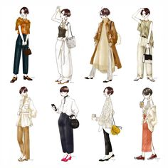 いつかのショートちゃん達 #ショートヘア#ファッションイラスト#コーデ#まとめ#ショート女子#そろそろ秋服#fashionillustration#illust#artwork#adobesketch B Fashion, Fashion Images, Retro Fashion, Korean Fashion, Autumn Fashion, Fashion Dresses, Vintage Fashion, Shot Hair Styles, Dress Drawing
