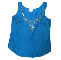 """Ann Taylor loft sequined turquoise tank medium Bust 38"""" Length 27"""" Cotton silk blend Has snaps on the straps to hold bra in place Color more 0 turquoise than shown Ann Taylor  loft   Tops Tank Tops"""