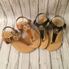 Monogrammed Sandals Personalized T Strap Shoes by thepurplepetunia