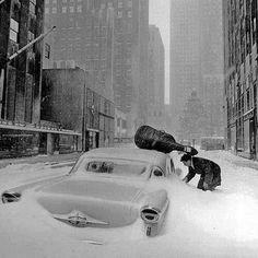Robert Doisneau Neige à New York Maurice Baquet en 1960 Photo