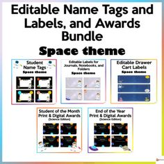 Make your classroom fun and bright with our space theme resources.This bundle includes 5 of our back-to-school resources.* Editable Name Tags* Editable Cart Labels* Editable Labels for Journals, Notebooks, and Folders* Student of the Month * End of the YearA. Editable Name Tags Space ThemeThese edit...