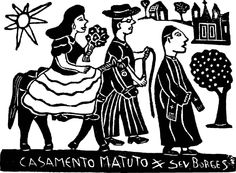"""Wedding gift to guests Signed wood print by Severino Borges: """"Casamento Matuto"""". Severino is a Brazilian artist."""
