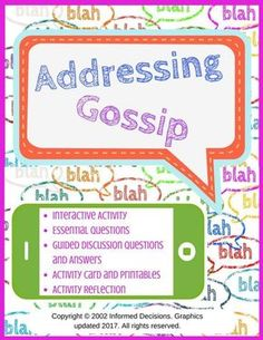 An interactive hands-on activity which allows teens to understand how and why gossip spreads!