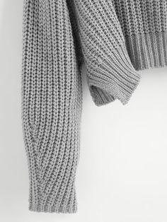 d78b9cb5b Product name  Vented Hem Chunky Knit Crop Jumper at SHEIN