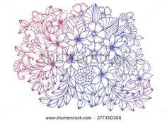 Flower doodle drawing. Floral design elements