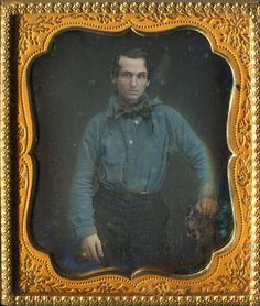 Daguerreotype Standing Gold Miner with Blue Shirt | eBay