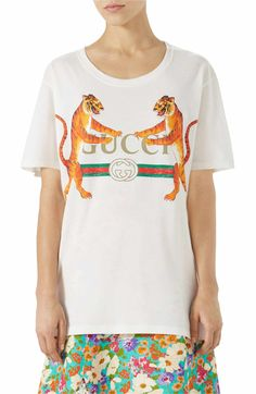 Main Image - Gucci Tiger Logo Cotton Tee