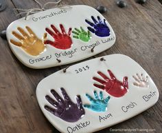 Ceramic Handprints for Grandma & Grandpa! Would you like to learn how to run your own Ceramic Handprint Business? Let me know! It is what I do. :)