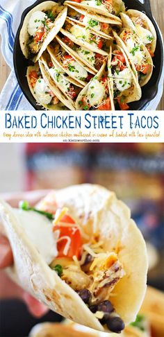 Baked Chicken Street Tacos are an easy family dinner idea. Quick to make using rotisserie chicken smothered in homemade crema & baked in the iron skillet. Seriously SO GOOD we made them twice in one weekend! #ad