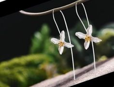 UK 925 Sterling Silver 3D Lily Flower Dangle Earrings Jewelry Natural Handmade  | eBay Handmade Sterling Silver, Sterling Silver Jewelry, Costume Jewelry, Dangle Earrings, Studs, Dangles, Christmas Gifts, Handmade Jewelry, Lily