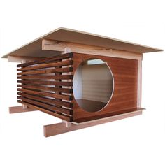 If you're serious about modern architecture, then you're going to flip for this beautiful modern cat house. Created by Tom Davies of Davies Decor, this modern cat hideaway is designed with classic post and beam principles, horizontal lines and a. Modern Dog Houses, Cat Houses, Hardwood Floors, Flooring, Cat Enclosure, Pet Furniture, Furniture Removal, Post And Beam, Pet Home