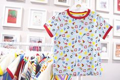 Little Bird By Jools Oliver beach seaside all over print ringer tshirt