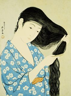 portrait of a beauty combing her hair by Goyo from Art.com