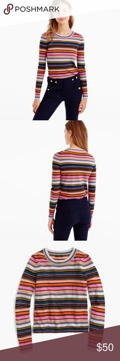 156daa1d34 Crew rainbow stripe very soft crew neck sweater Excellent condition no  flaws Adorable easy style J. Crew sweater with a rainbow stripe.