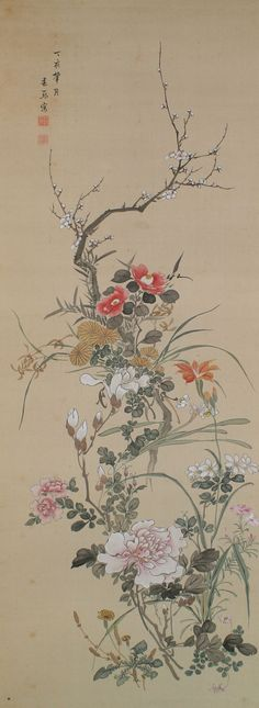 Flowers, Urakami Shunkin (1779-1846), Japanese scroll painting. camellias in the top under the cherry blossom