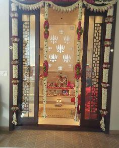 Prayer room ideas hindu Puja room or a prayer room is an intrinsic part of every hindu hosehold. Pooja Room Door Design, Room Interior Design, Design Room, Mandir Decoration, Temple Room, Temple Design For Home, Layout Design, Housewarming Decorations, Mandir Design