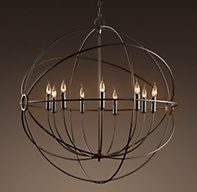 """FOUCAULT'S IRON ORB CHANDELIER RUSTIC IRON LARGE SPECIAL $895 DIMENSIONS Overall: 40½"""" diam., 43""""H Chain: 24""""L Weight: 15 lbs."""