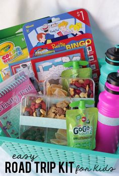 Great ideas for a road trip kit. Keep the kids busy and entertained.