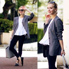 Loose jacket with a structured handbag.