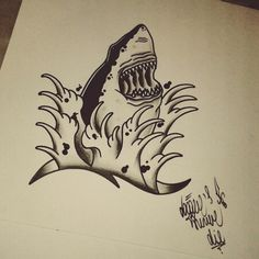 #art #tattoo #blackwoks #draw #traditional #shark