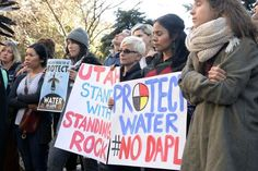 Protesters demonstrate in Salt Lake City in support of the Standing Rock Sioux against the Dakota Access Pipeline, Monday, Oct. 31, 2016. (Al Hartmann/The Salt Lake Tribune via AP)