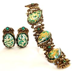 Selro Green Confetti Bracelet & Earring Set