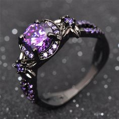 Charming Amethyst Ring Purple Zircon Fashion Women Wedding Flower Jewelry Black Gold Filled Engagement Rings Bague Femme from R. Black Gold Jewelry, Black Rings, Purple Jewelry, Bling Bling, Purple Stone Rings, Purple Stuff, Purple Colors, Ring Verlobung, Purple Amethyst