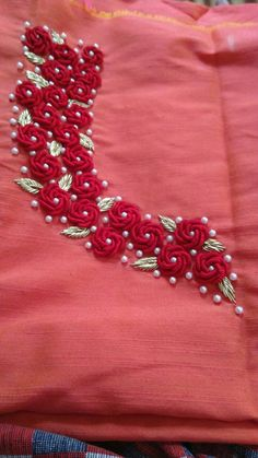 Discover thousands of images about Bullion stitch pearls & leaves Zardozi Embroidery, Embroidery On Kurtis, Hand Embroidery Dress, Kurti Embroidery Design, Hand Embroidery Videos, Embroidery On Clothes, Flower Embroidery Designs, Simple Embroidery, Beaded Embroidery