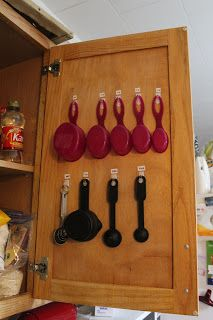 Organizing Measuring Cups/Spoons inside cabinet door.  On other door put measurements