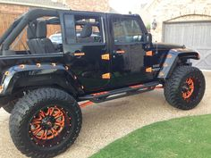 Of I could buy a jeep it would be a wrangler. Orange Jeep Wrangler, 2014 Jeep Wrangler, Jeep 4x4, Jeep Truck, Blue Jeep, Wrangler Unlimited Sport, Custom Jeep, Jeep Parts, Cool Jeeps