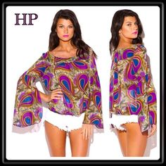 💜HP!💜XL Peacock Top🇺🇸 Festival ready. This semi-sheer chiffon top with flowy bell sleeve is gorgeous. It has and elastic bottom hem. 100% polyester. MADE IN THE USA.🇺🇸 Tops Blouses