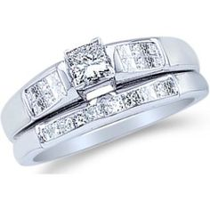 Buy 14k White Gold Diamond Ladies Engagement Ring Matching Wedding Band Two 2 Ring Set Solitaire Side Stones Princess Cut Diamond Ring (.46 cttw 0.16 ct Center G online - This dazzling diamond item is set in Pure 14k White Gold. Each one of the 100% real and natural diamonds is near colorless (G - H color) with a gleaming clarity at SI2. This popular design contains a total diamond weight of 0.46ct. Brand: SC Jewels Design:...