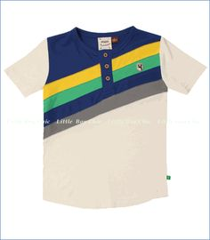 Fore!!, Stripe Henley in Cream and Navy Dust (c)