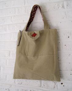Handmade Recycled Sand Needlecord Bag by MadeinW6 on Etsy