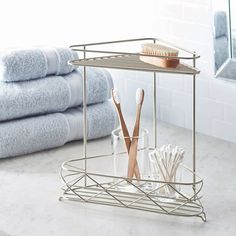 Bathroom Corner Storage Shelf 2-Tier Shelves Shower Cabinet Organizer Rack #BetterHomesandGardens