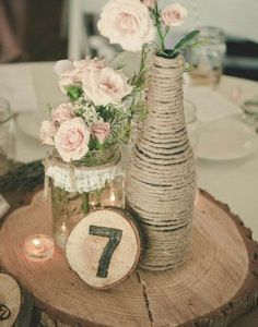 Click Pic for  27 DIY Wedding Centerpieces - Rustic Wood and Twine | DIY Wedding…