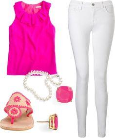 pink & white attire
