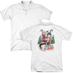 BETTY BOOP/I WANT IT ALL (BACK PRINT) - MENS REGULAR FIT POLO-WHITE