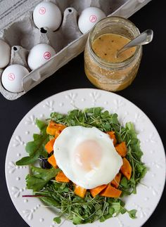 Roasted Sweet Potato Sunny-Side Up Salad with Ginger Sesame Vinaigrette #recipes #cooking #food