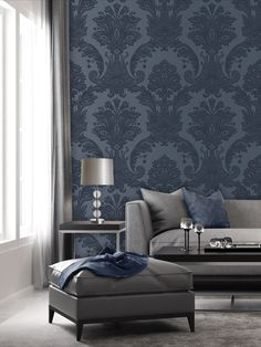 This stunning Amara Damask wallpaper will bring a touch of style and elegance to your home. The design features an intricate embossed damask pattern in a dark blue tone on a lightly textured dark blue background, with a beautiful soft sheen finish to catch the light. Easy to apply, this high quality vinyl wallpaper would look great as a feature wall or equally good when used to decorate a whole room. Paper Wallpaper, Vinyl Wallpaper, Damask Wallpaper Living Room, Dark Blue Background, Blue Tones, Texture Design, Love Seat, Lounge, Colours