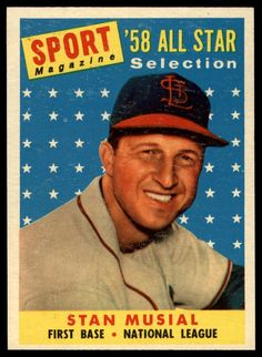 1958 Topps Stan Musial All Star Ex St. Louis Cardinals First Base St Louis Baseball, Baseball Star, Baseball Players, Baseball Movies, Baseball Pics, Mlb Players, Baseball Card Values, Baseball Cards For Sale, Football Cards