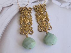 Green Opal Teardrop and Rectangle Filigree by MichaelinaRose