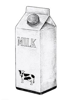 Hand drawn carton of milk vector Pencil Art Drawings, Easy Drawings, Sketchbook Drawings, Sketches, Milk Y Goku, Milk Drawing, Milk Carton Crafts, Bottle Drawing, Milk Bath Photography