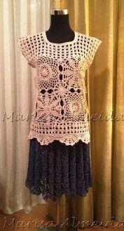 Blusa em crochet a mão, confeccionada com fios de algodão 1000 super fininhos em branco e bege.  Veste os tamanhos M e G.