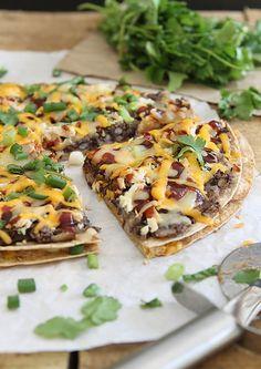 BBQ Black Bean Tortilla Pizza by Runningtothekitchen, via Flickr--sub veggie meat