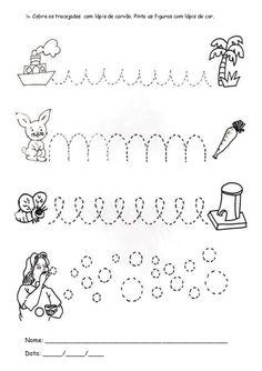  Cobre os tracejados com lápis de carvão. Pinta as figuras com lápis de cor. Nome: ______________________________________...