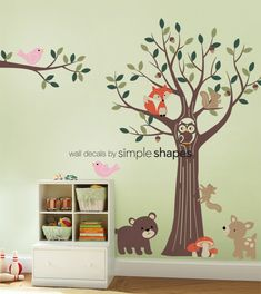 THE ORIGINAL Tree with Forest Friends Decal Set - Kids Baby Nursery Wall Decals