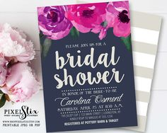 Navy and Purple Bridal Shower Invitation, Floral Bridal Shower Invite, Navy Blue Invite, Bridal Brunch, Baby Shower, Plum Magenta PRINTABLE by shopPIXELSTIX on Etsy